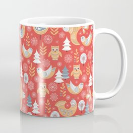 Fairy forest, deer, owls, foxes. Decorative pattern in Scandinavian style on a red background. Folk Coffee Mug