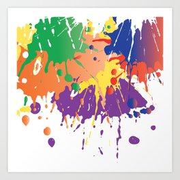 Colourful Paint splash Art Print