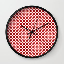 Red Overlapping Circles Background Pattern Wall Clock