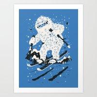 skiing Art Prints featuring Skiing Yeti by Greg Abbott