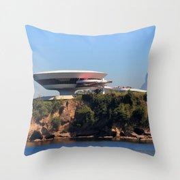 MAC Niterói   Oscar Niemeyer Throw Pillow