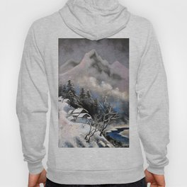 Winter village in the mountains Hoody