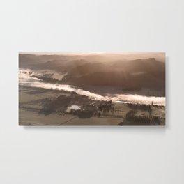 Rising sun burns away fog over Tukituki River Hawkes Bay Metal Print