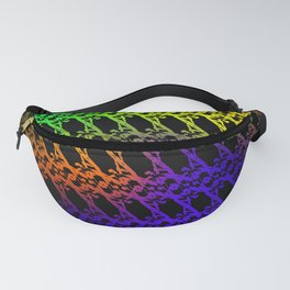 Royal pattern of neon squiggles and blue ropes on a black background. Fanny Pack
