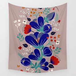Folk Spring Flowers blooms - number1 Wall Tapestry