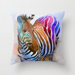 Colorful Zebra Throw Pillow