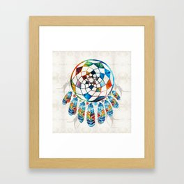 Native American Colorful Dream Catcher by Sharon Cummings Framed Art Print