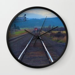 Wrong Side of the Track - Oncoming Train Wall Clock