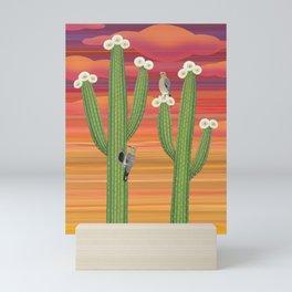 gila woodpeckers on saguaro cactus Mini Art Print