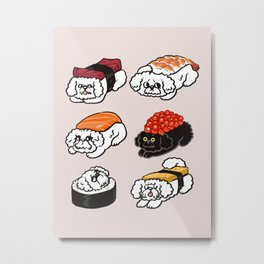 Sushi Bichon Frise Metal Print