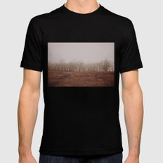 Foggy Trail to the Trees MEDIUM Black Mens Fitted Tee