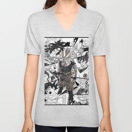Manga black and white Dragon Ball Goku Unisex V-Neck