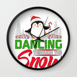 Cute Christmas Penguin Dancing through the Snow Wall Clock