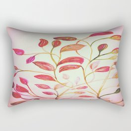 Red and Green Leaves! On Pink! Spring Rectangular Pillow