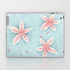 Beautiful Abstract Flowers In Red And White Laptop & iPad Skin