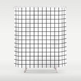 Emmy -- Black and White Grid, black and white, grid, monochrome, minimal grid design cell phone case Shower Curtain