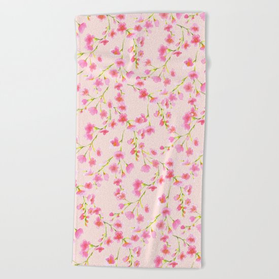 Cherry Blossoms Pink on Pink (For Mackenzie) Beach Towel
