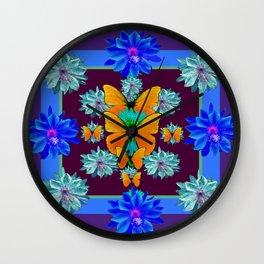 Peachy Color Butterflies Purple-Blue Tropical Flowers Pattern Art Wall Clock