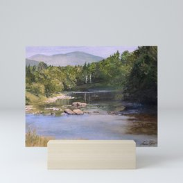 Landscape Vermont Summer River Watercolor Mini Art Print