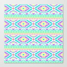 Aztec Geometric Print - Pastel bright colours Canvas Print