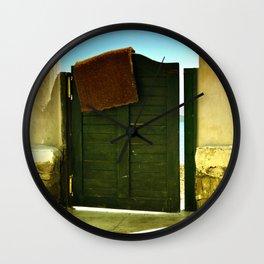 green old garden door Wall Clock