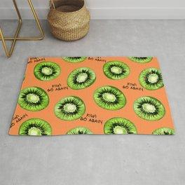 Kiwi Go Again Funny Kiwi Fruit Pun Pattern (orange) Rug