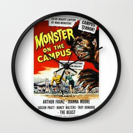 The Monster of the Campus, vintage horror movie poster Wall Clock