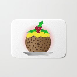 Christmas Pudding With Custard And Holly Sprig Bath Mat