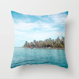 Blue and turquoise paradise of the San Blas Islands, Panama in the Caribbean Sea Throw Pillow