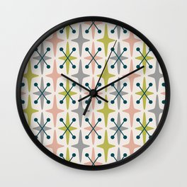 Mid Century Modern Abstract Star Pattern 222 Teal Chartreuse Dusty Rose and Gray Wall Clock