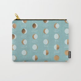 The Lunar Cycle • Phases of the Moon – Copper & Robin's Egg Blue Palette Carry-All Pouch