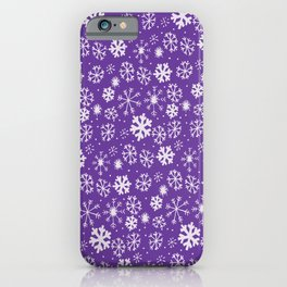 Snowflake Snowstorm With Purple Background iPhone Case