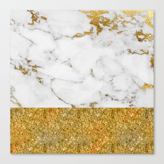 Luxury and glamorous gold glitter and white and gold marble Canvas Print