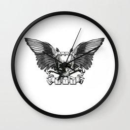 Live/Die Winged Skull Wall Clock