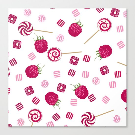Candy sweets lollipops Raspberry Canvas Print