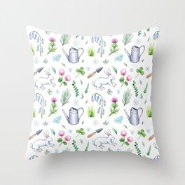 Garden Rabbits Throw Pillow