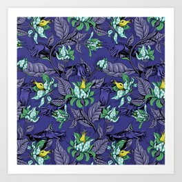 The Sea Garden - deep blue Art Print