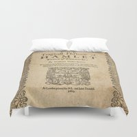 shakespeare Duvet Covers featuring Shakespeare, Hamlet 1603 by BiblioTee