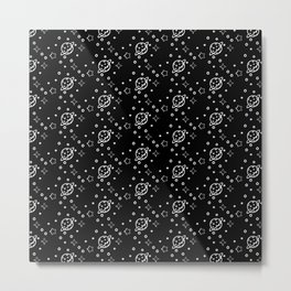 Planet and Stars pattern Metal Print