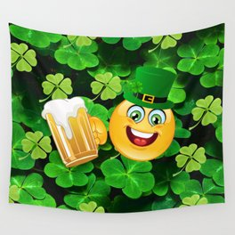 St. Patrick Day Emoticon Wall Tapestry