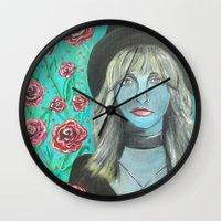 stevie nicks Wall Clocks featuring Stevie by Olivia Harris Studio
