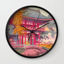 Japanese Woodblock Print Vintage Bright East Asian Red Pagoda Spring Garden Wall Clock