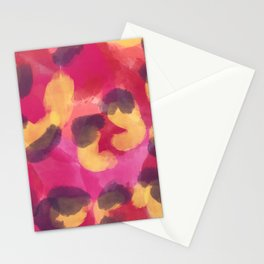 Abstract modern pink yellow brown camo leopard dots pattern Stationery Cards