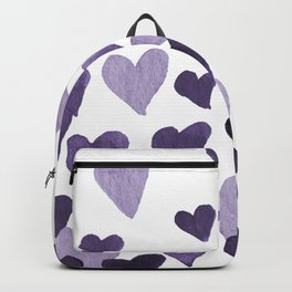 Valentine's Day Watercolor Hearts - ultraviolet Backpack