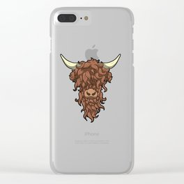Scottish Highland Cow Wild Hairstyle Gift Clear iPhone Case