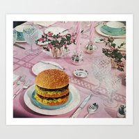 burger Art Prints featuring BURGER by Beth Hoeckel