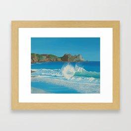 Porthcurno wave. Framed Art Print