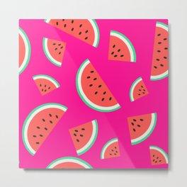 Watermelon Summer Pattern - fuchsia Metal Print