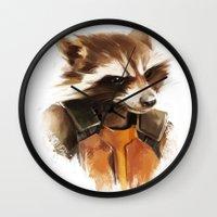 rocket raccoon Wall Clocks featuring Rocket by Colien