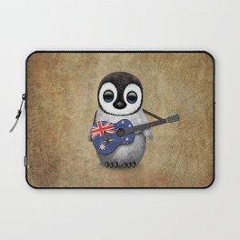 Baby Penguin Playing Australian Flag Guitar Laptop Sleeve